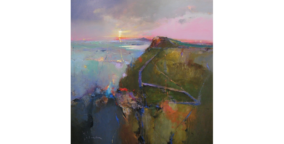 Dawn over Castle Nick and Crag Lough, Hadrians Wall, 36 x 36, oil on canvas.JPG