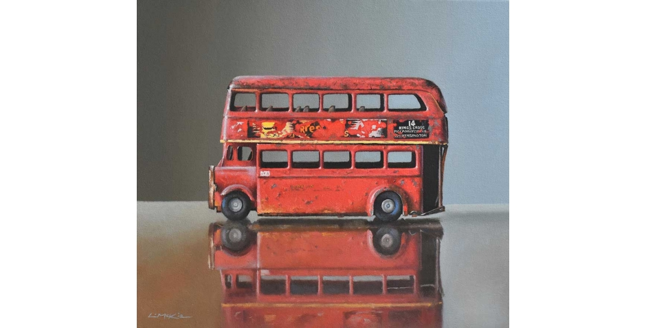 Lucy McKie Old Toy Bus on Glass