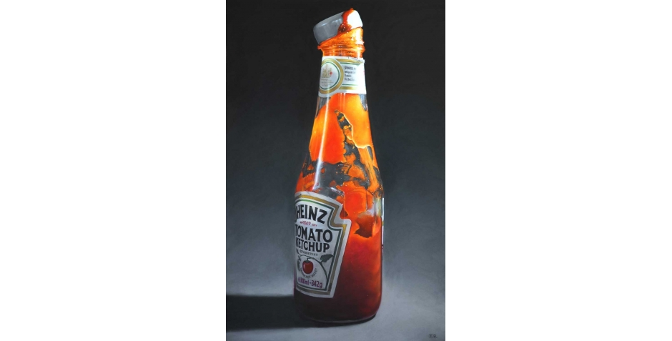 'Tomato Ketchup Bottle' pastel work by Ian Rawling