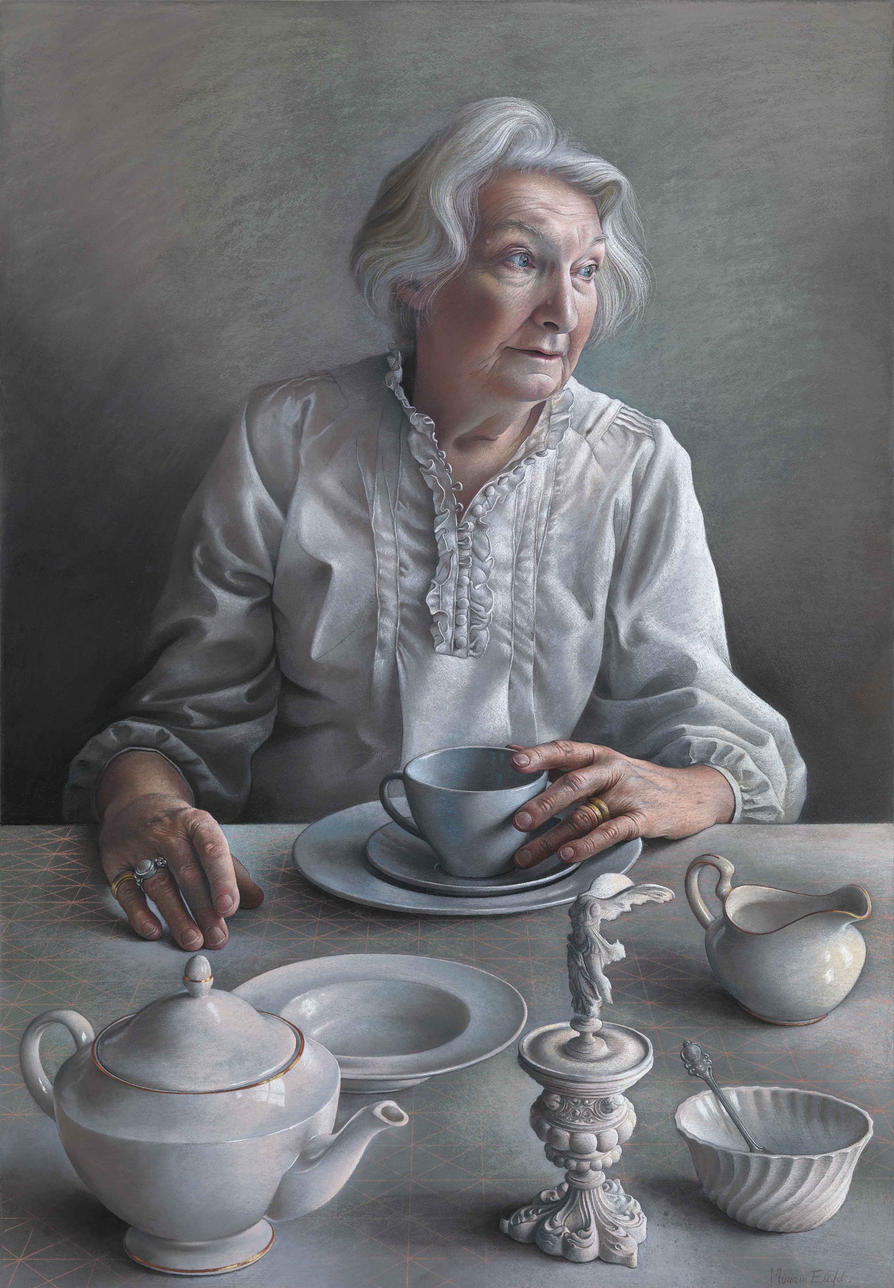 pastel study of my mother for  u0026 39 an angel at my table