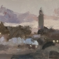 'Blue smoke at dusk, Djemma-El -Fna, Marrakech', oil on board, 5.5inches x 8inches, £750.JPG