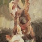 'Hanging carcass, Marrakech (after Rembrandt)', oil on board, 8inches x 5.5inches, £750 .JPG