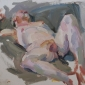 'Reclining male nude', oil on board, 10inches x 12inches, £1000.JPG