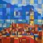 'Mountain Town' pastel work by Martin Goold