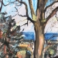 """""""Winter Light and beyond Holyrood Park"""" Ink wash on soft pastel paper by Emily Ingrey-Counter"""