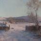 """Towards Doddington in the Snow"" Oil on Board by Frances Bell"