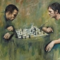 """""""Chess Players"""" Acrylic and Oil on Canvas by Lucie Geffré"""