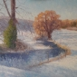 'First Snow, Sherborne' oil painting by Julian Halsby