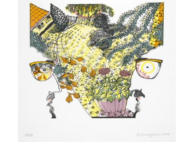 GREEN-ANTHONY-MONKEY PUZZLE & TUB OF PINK HYDRANGEAS.jpg