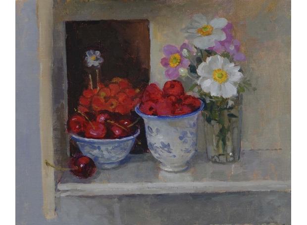 Kay-Pamela-Raspberries and Cherries in Two Tea Bowls.jpg