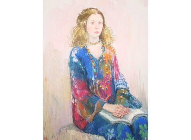 Ambrus-Glenys-Clare with Book. 54x65cm £950jpg.jpg