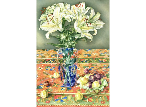 Grant-Susan-Lilies and plums with goemetric pattern.jpg