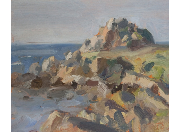 'Rocky headland, Cap Spartel, Tangier', oil on board, 8.5inches x 10inches, £950 .JPG
