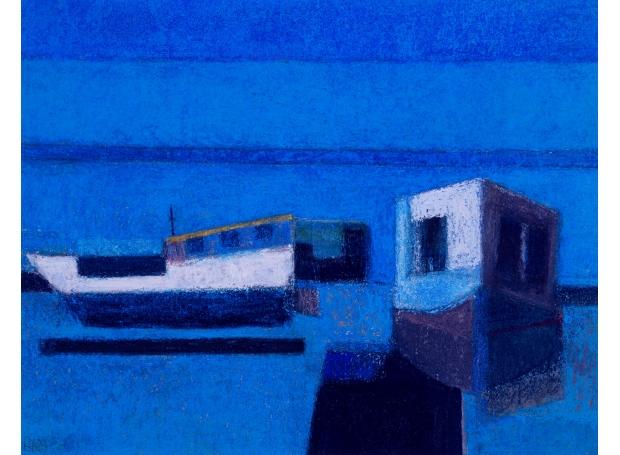 Robin Warnes House Boats Pastel Society