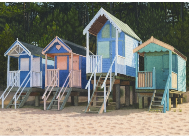Heath M.  Beach huts and pine trees.jpg
