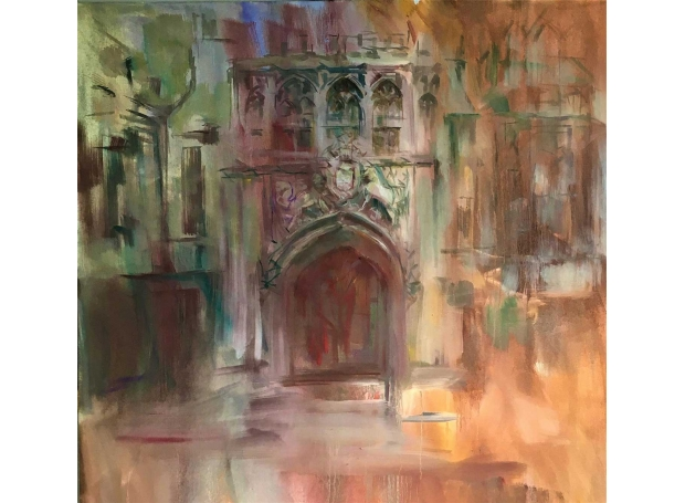 """""""Brasenose College Gate Oxford"""" Oil Painting by Philip James"""