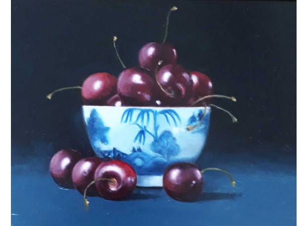 Cherries in Blue & White Bowl by Jacqueline Taber