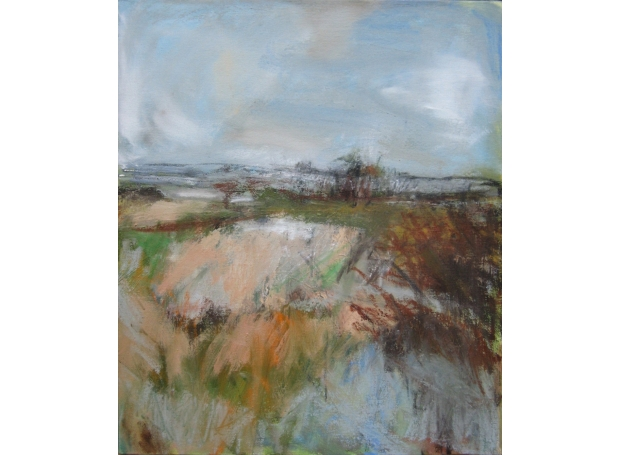 """Autumn Fields"" Oil and Charcoal on Canvas"