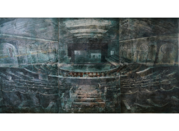 """Stage right, centre stage"" Lithographic Monoprint by Kristina Chan"