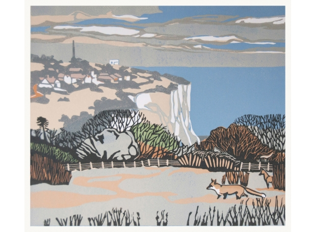 """""""Looking out for you"""" Linocut by Max Angus"""