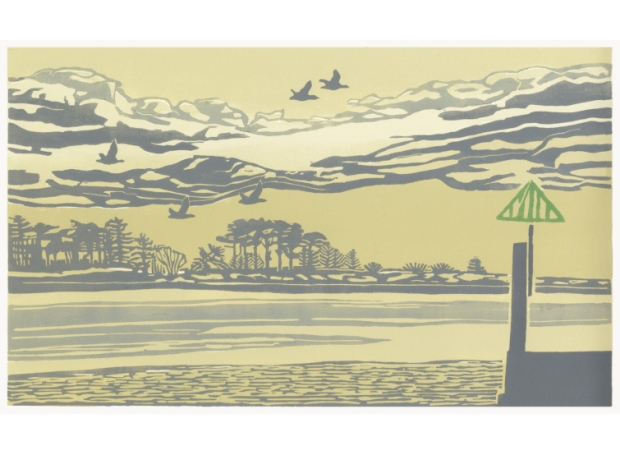 """Wells before dark"" Linocut by Max Angus"