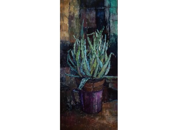 """""""Aloe Vera"""" Oil on linen, mounted on board by Bernadett Timko"""