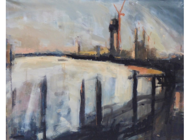 Cranes by the River Thames by Rebecca Hathaway