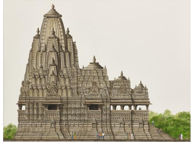 """Kandariya Mahadeva Temple, Khajuraho"" Watercolour by Varsha Bhatia"