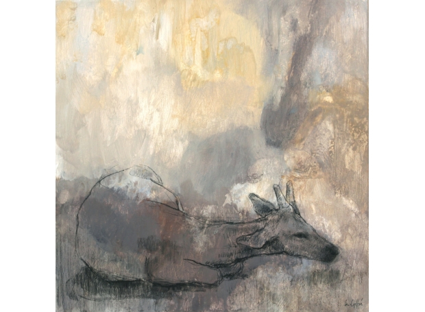 """Young Deer Lying Down"" Acrylic and Charcoal on Canvas"