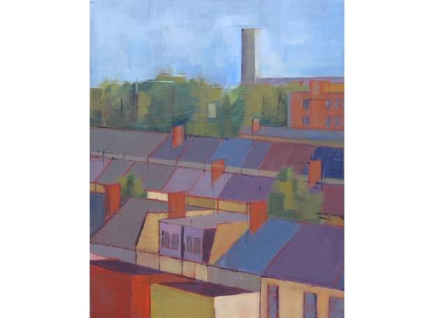 """""""Rooftops IV"""" Oil on Canvas by Eve Pettitt"""