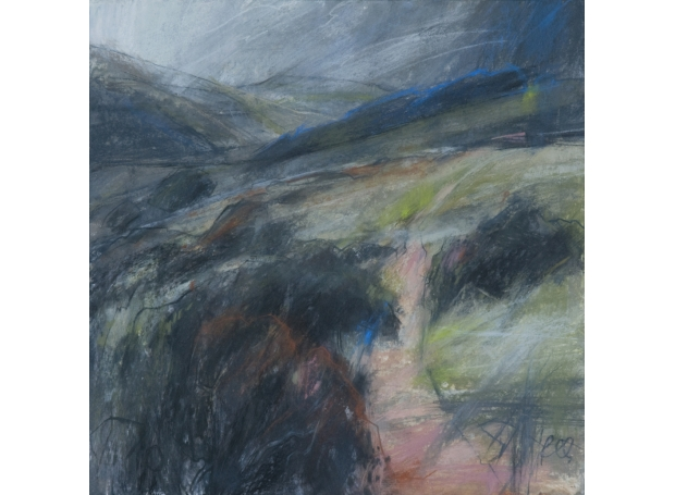 """Path to Wistmans Wood, Dartmoor"" Pastel with acrylic on mountboard by Sarah Bee"