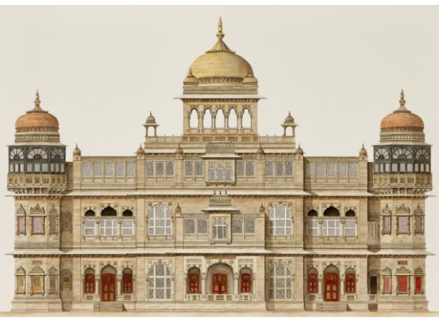 """Vijaya Vilas Palace, Mandvi, India"" Watercolour by Varsha Bhatia"