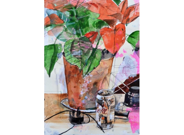'Poinsettia Study' mixed media work by David Douglas