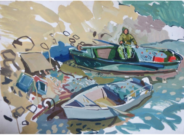 'Sea of Galilee' gouache painting by Lachlan Goudie