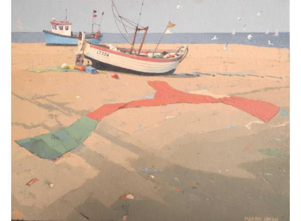'Fishing Boats at Aldeburgh' oil painting by Martin Swan