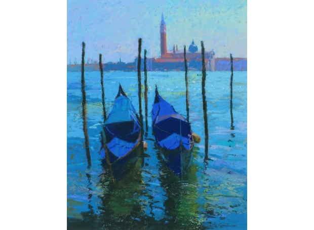 'Moorings at  San Marco' pastel painting by Sheila Goodman