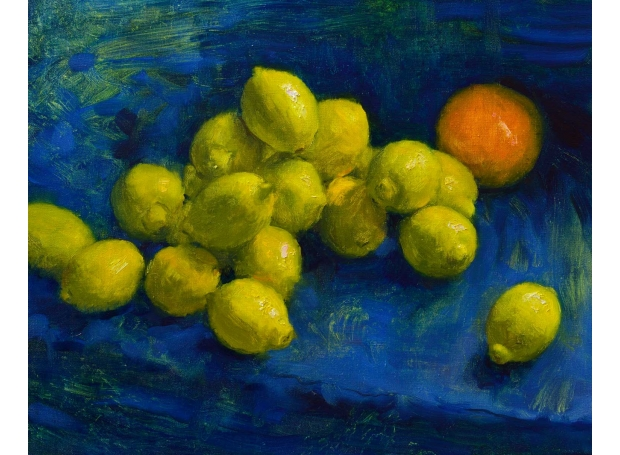 """""""Lemons and Grapefruit"""" Oil Painting by Andrew Hitchcock"""