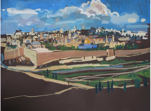 'The Walls of Jerusalem' gouache painting by Lachlan Goudie