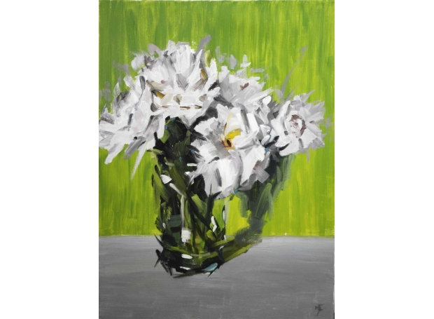 """White Flowers against Green and Grey"" Oil on Canvas by Michael Jules Lang"
