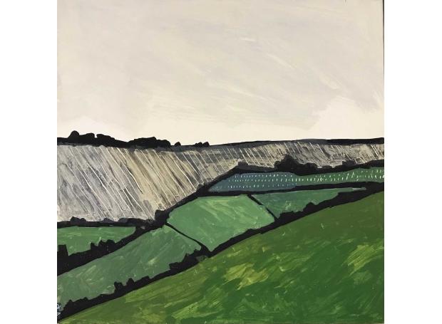 'Green Land' egg tempera work by Andrew Lansley