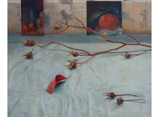 'Rose Hips, Red Leaf, Survivors' oil painting by Susan Angharad Williams