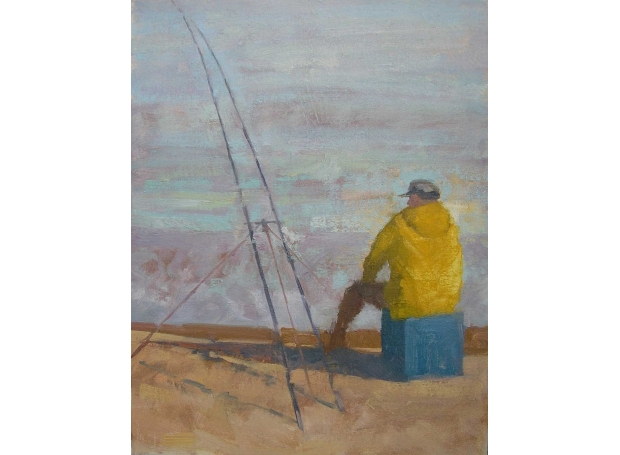 """""""Fishing, Late Afternoon"""" Oil on Canvas by Delia Tournay-Godfrey"""