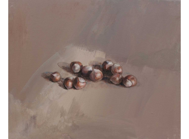 'Hazelnuts' oil and acrylic painting by Lucie Geffre