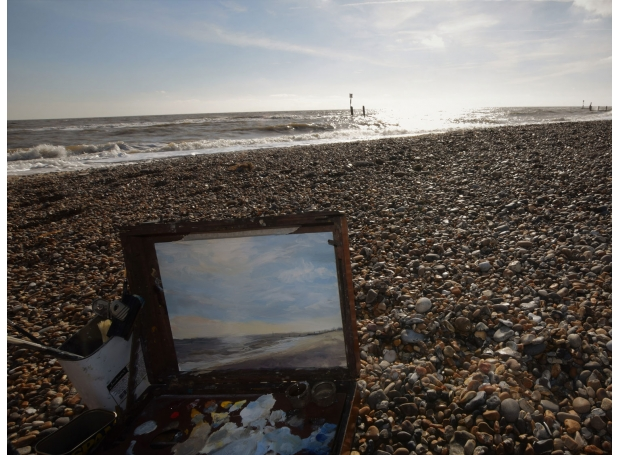 Painting  at Southwold by Sarah Spencer NEAC