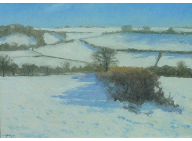 'Snow near Cerne Abbas' oil painting by Julian Halsby