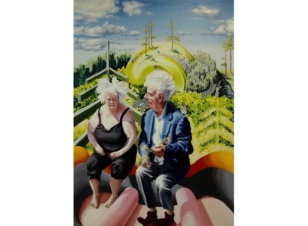 'Upp åt bäcken (Up the creek)' acrylic painting by Brian Morris