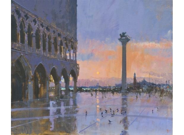 'Blood orange sky, Sunset, Venice' oil painting by David Sawyer