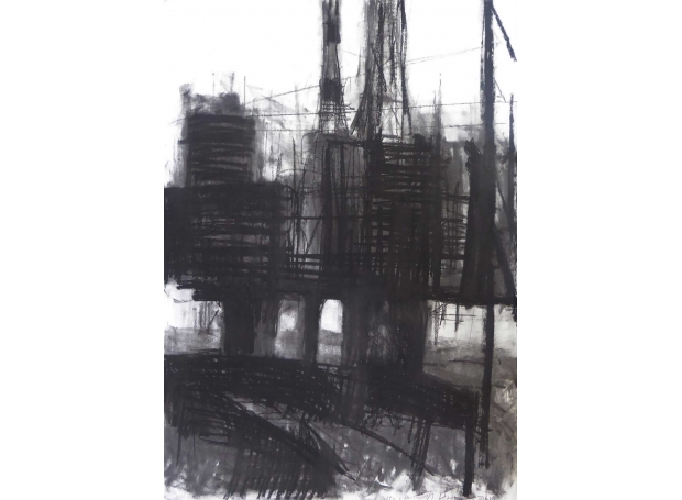 """""""Brent Delta in Hartlepool"""" Charcoal on Paper by Rebecca Hathaway"""