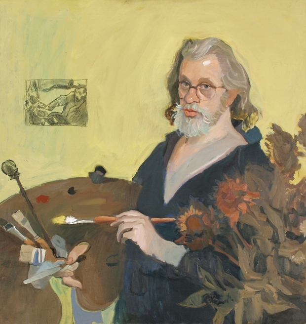Alexander Goudie Self portrait - Hommage to Van Gogh', 97x102cm; Oil and chalk on canvas.jpg