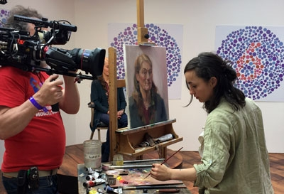 Suzon Lagarde from Mall Galleries In the Studio on Sky Arts Portrait Artist of the Year Award